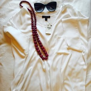 Lane Bryant 18/20 Sheer White Pocket T-shirt.